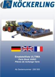 Ersatzteilliste ULTIMA Parts Book VARIO Pièces de rechange Vario