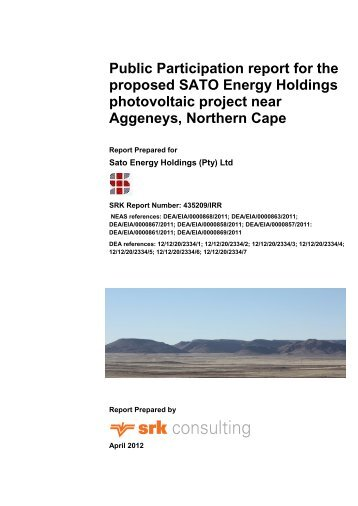 Public Participation report for the proposed SATO ... - SRK Consulting