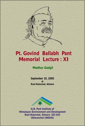 Pt. Govind Ballabh Pant Memorial Lecture : XI