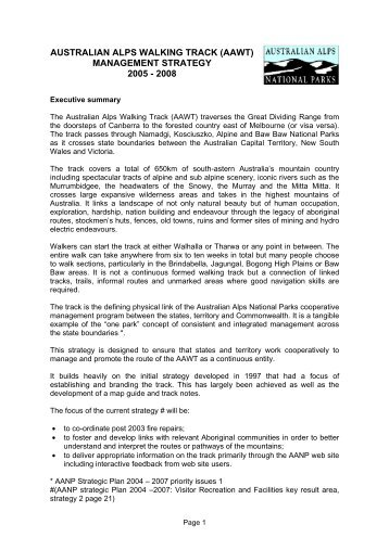 (AAWT) Management Strategy 2005 - Australian Alps National Parks
