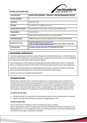 Intern Job Description Volunteer Co   - Sport Central