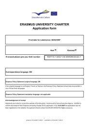 ERASMUS UNIVERSITY CHARTER Application form