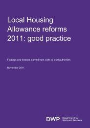 Local Housing Allowance reforms 2011: good practice