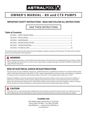 OWNER'S MANUAL - BX and CTX PUMPS - Astral Pool USA