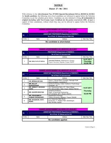 NOTICE Dated 27 / 06 / 2011 - Tezpur University