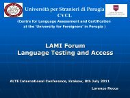 LAMI Forum Language Testing and Access - ALTE