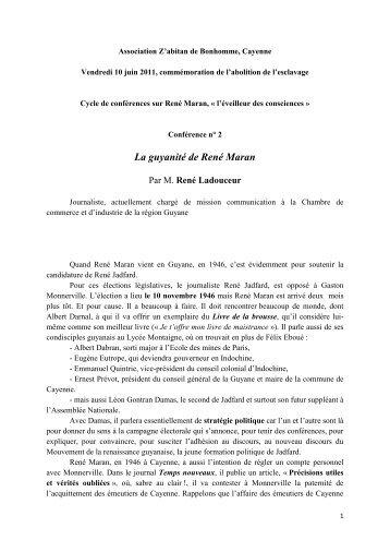 La guyanité de René Maran - Manioc