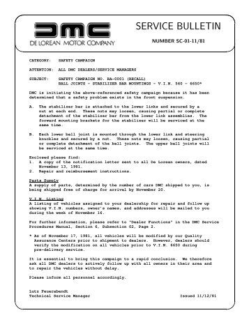 SERVICE BULLETIN - DMC-News & The DML
