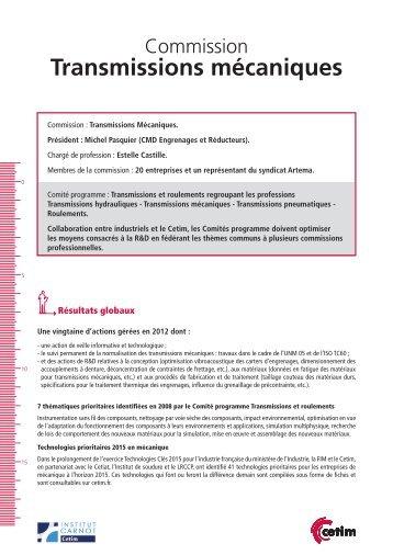 Fiche Commission Transmissions Mécaniques - Juin 2013 - Cetim