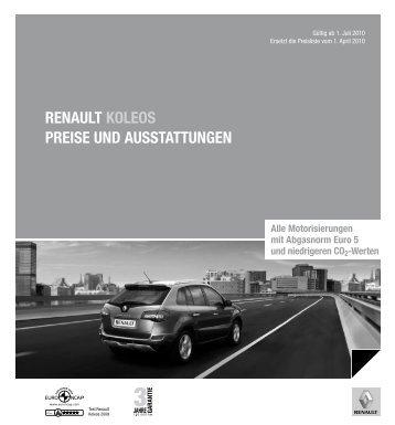 Renault Koleos PReise und ausstattungen alle Motorisierungen mit ...