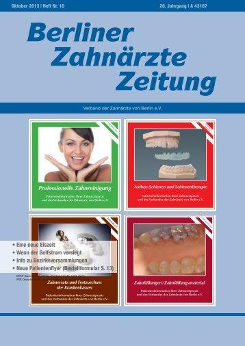 BZZ_2013_10 - Verband der Zahnärzte von Berlin
