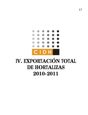 IV. EXPORTACIÓN TOTAL DE HORTALIZAS 2010-2011