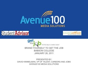 brand yourself to get the job babson college january 26, 2011