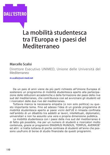 La mobilità studentesca tra l'Europa e i paesi del Mediterraneo