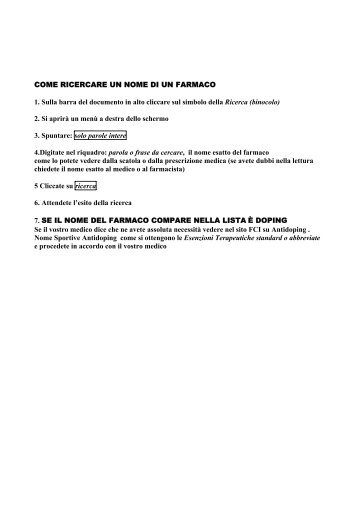 come ricercare un nome di un farmaco - Federazione Ciclistica Italiana