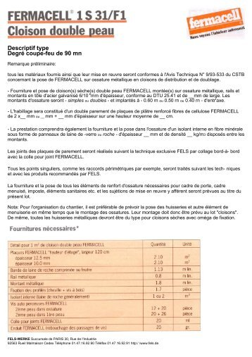 Descriptif type cloison CF 90mn Format PDF 2004 KO - dBstop