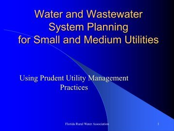 Water and Wastewater Planning - Florida Rural Water Association