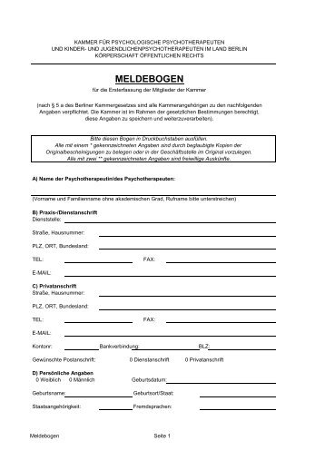 meldebogen - Kammer für Psychologische Psychotherapeuten und ...