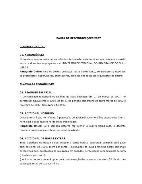 PAUTA DE REIVINDICAÇÕES 2007 CLÁUSULA ... - Sinpro/RS