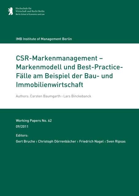 CSR-Markenmanagement - MBA Programme der HWR Berlin