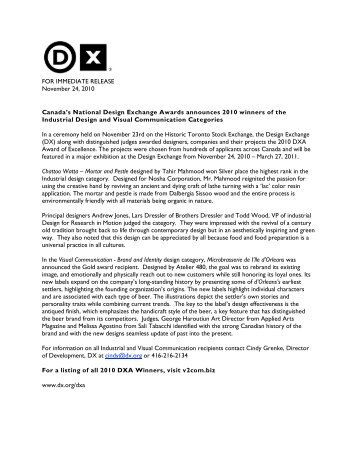 FOR IMMEDIATE RELEASE November 24, 2010 ... - Design Exchange