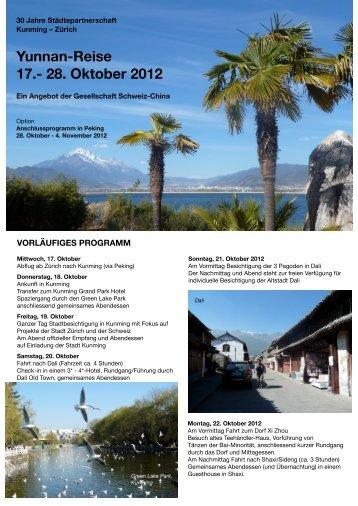 Yunnan-Reise - 17.- 28. Oktober 2012 - Schweizerisch-Chinesische ...