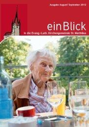 einBlick August/September 2012 - Evangelische Kirchengemeinde ...