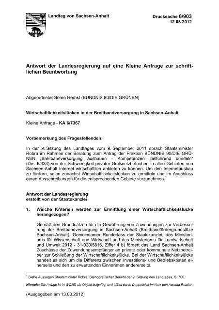 Antwort der Landesregierung - Landtagsfraktion Sachsen-Anhalt