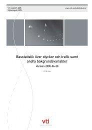 Basstatistik över olyckor och trafik samt andra bakgrundsvariabler - VTI