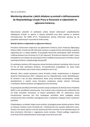 Zestawienie wniosków wg stanu na 15 czerwca ... - wup rzeszow.pl