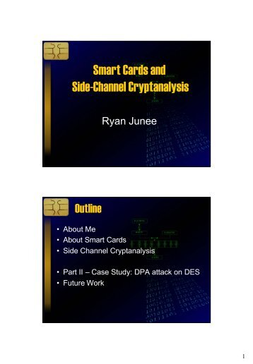 Smart Cards and Side-Channel Cryptanalysis - 2008