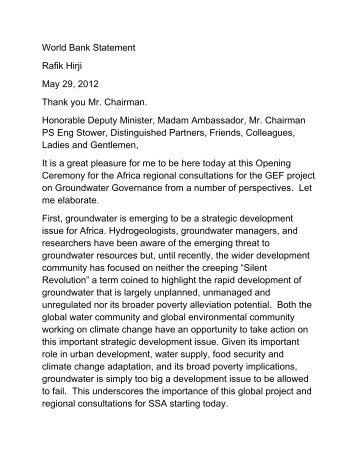 Rafik Hirji, World Bank - Groundwater Governance