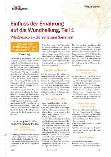 Einfluss der Ernährung auf die Wundheilung, Teil 1 - Werner Sellmer