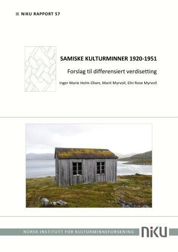 niku rapport 57 samiske kulturminner 1920-1951