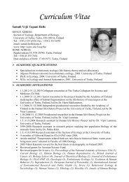 Curriculum Vitae - Käyttäjien kotisivut - Users' home pages