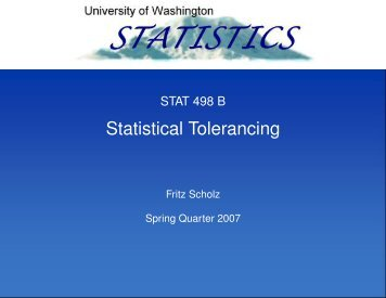 Statistical Tolerancing - Statistics