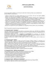 Relevé de conclusions séance plénière du 05 juillet 2011