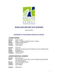 MARYLAND HISTORY DAY WINNERS - Maryland Humanities Council