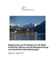 Reglemente–Benutzungsordnungen–Preise - Kirchgemeinde Brienz