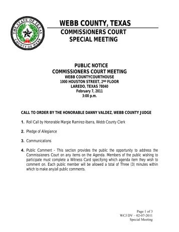 webb county, texas commissioners court special meeting public ...
