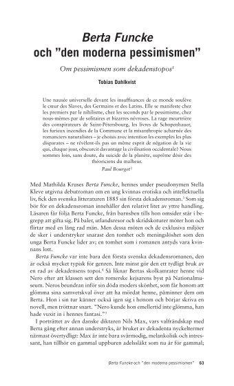 """Berta Funcke och """"den moderna pessimismen"""""""