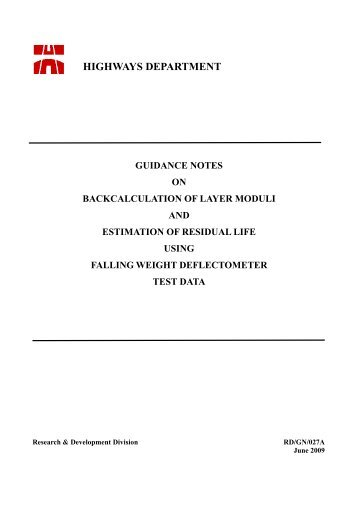 guidance notes on backcalculation of layer moduli and estimation