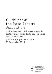 Guidelines of the Swiss Bankers Association - SwissBanking