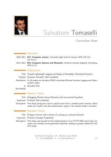 Salvatore Tomaselli – Curriculum Vitae - Chalmers tekniska högskola