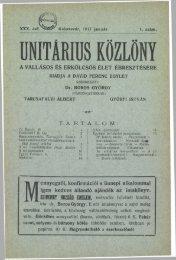 1917 - Magyarországi Unitárius Egyház
