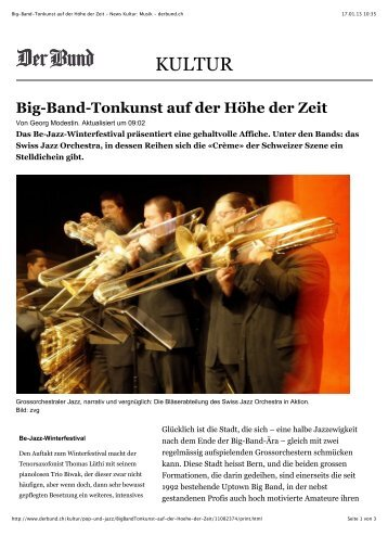 """DerBund"" vom 17.01.2013 - Swiss Jazz Orchestra"