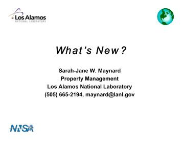 What's New? - Acquisition Services Management - Los Alamos ...