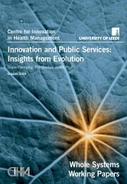 Innovation and public services: insights from evolution - Centre for ...