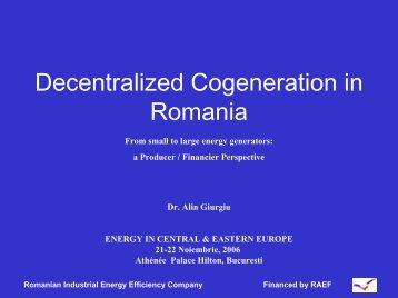 Decentralized Cogeneration in Romania - Petroleumclub.ro