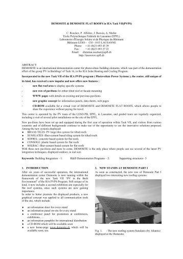 DEMOSITE & DEMOSITE FLAT ROOFS in IEA Task ... - EPFL - LESO